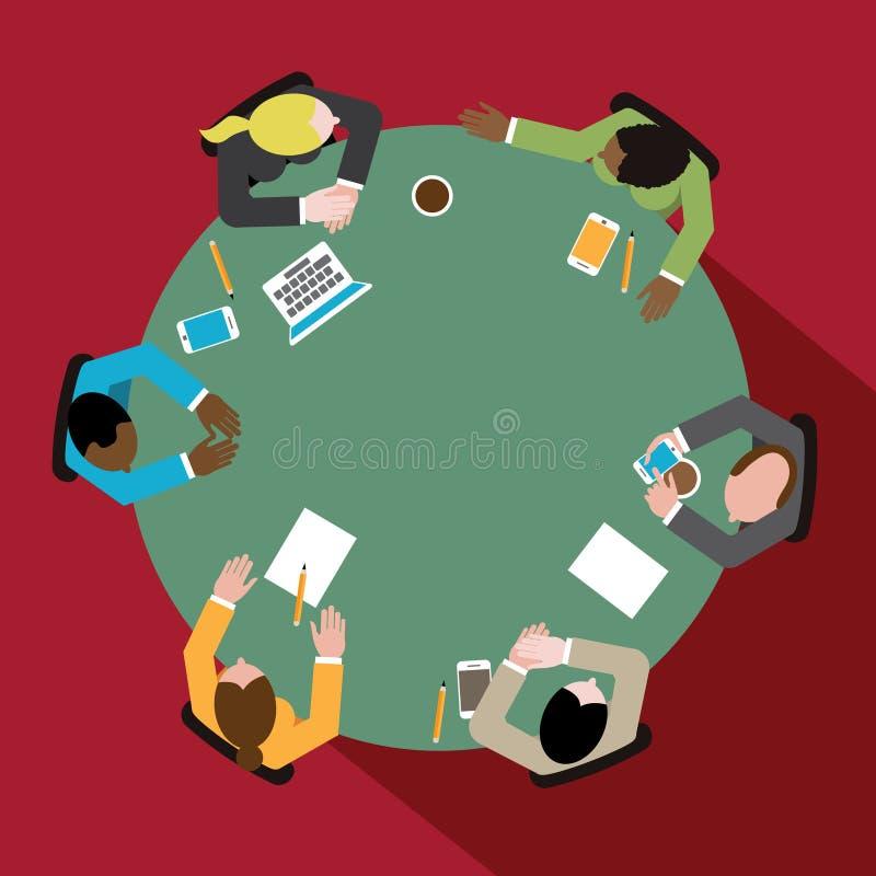Разнообразная группа в составе бизнесмены и женщины на круглом столе переговоров иллюстрация штока