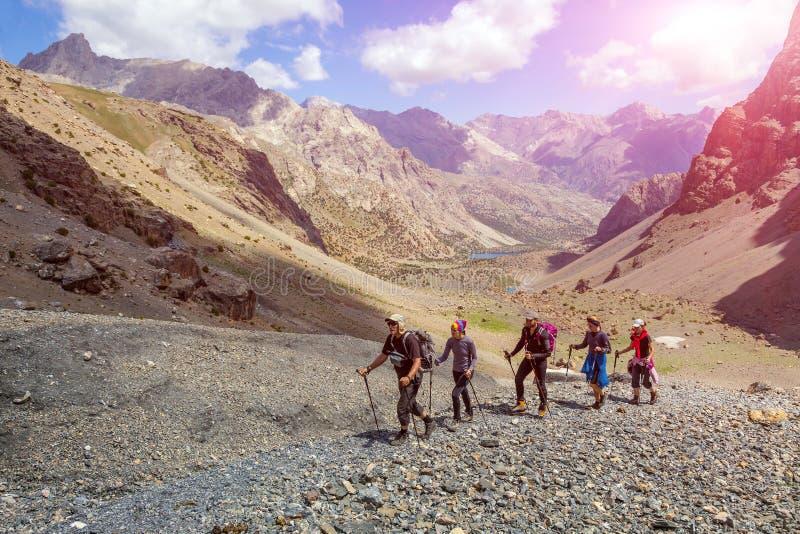 Разнообразная группа в составе hikers в местности горы стоковые фото