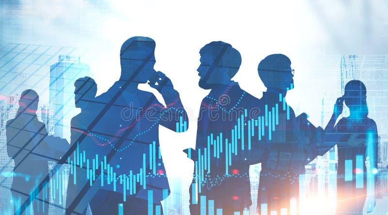 Разнообразная команда дела в городе, валюте изображает диаграммой стоковая фотография