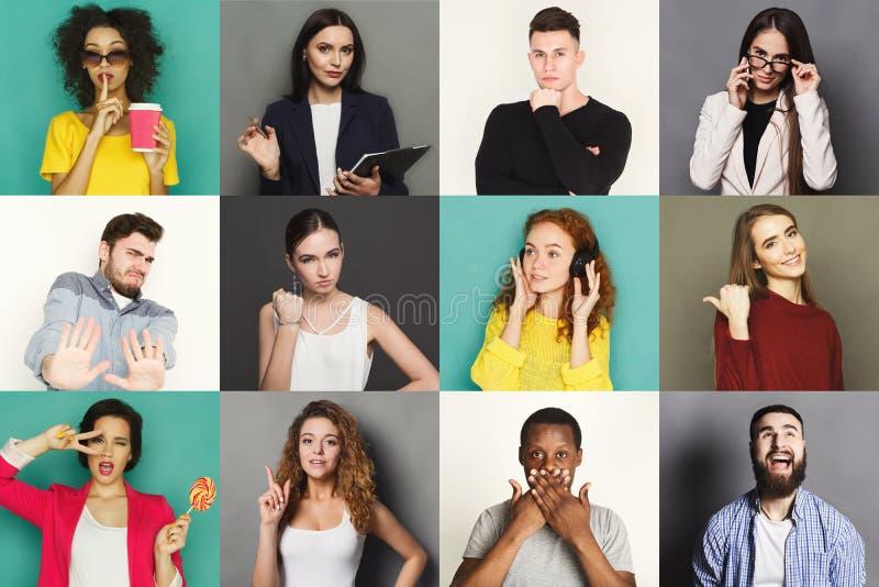Разнообразное молодые люди положительное и отрицательные установленные эмоции стоковое изображение