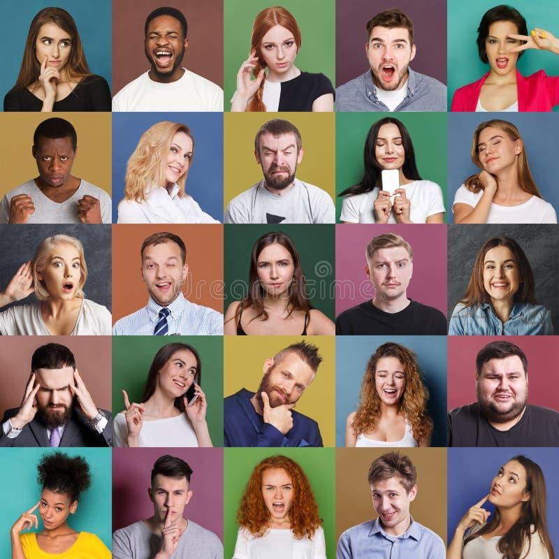 Разнообразное молодые люди положительное и отрицательные установленные эмоции стоковое изображение rf