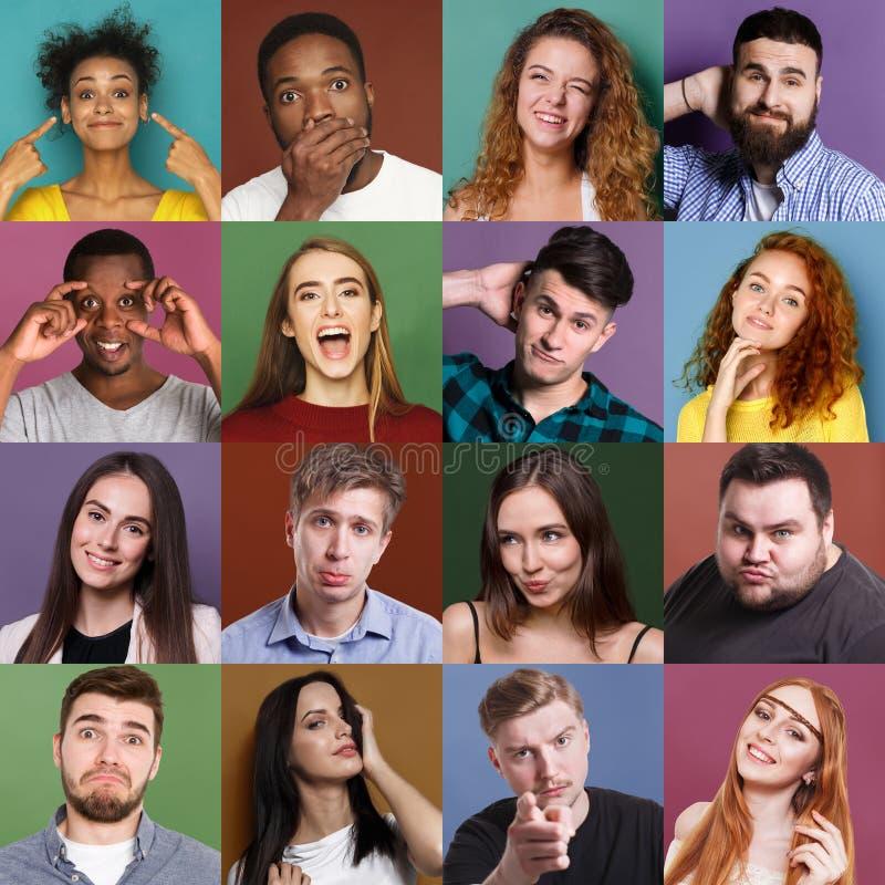 Разнообразное молодые люди положительных установленных эмоций стоковые изображения