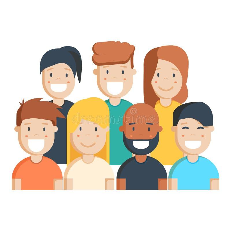 Разнообразные группа людей, студенты или рабочее место иллюстрация штока