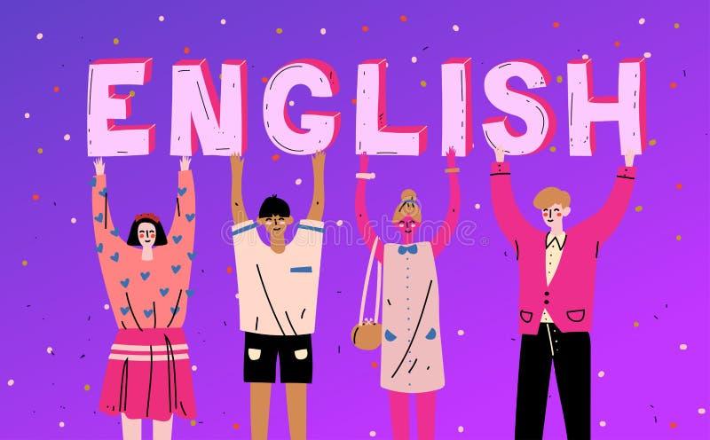 Разнообразные люди держа английский язык слова писем Выучите язык иллюстрация штока