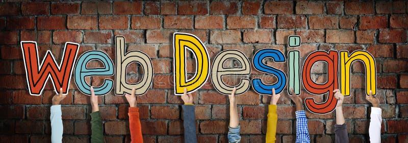 Разнообразные руки держа веб-дизайн слов стоковое изображение