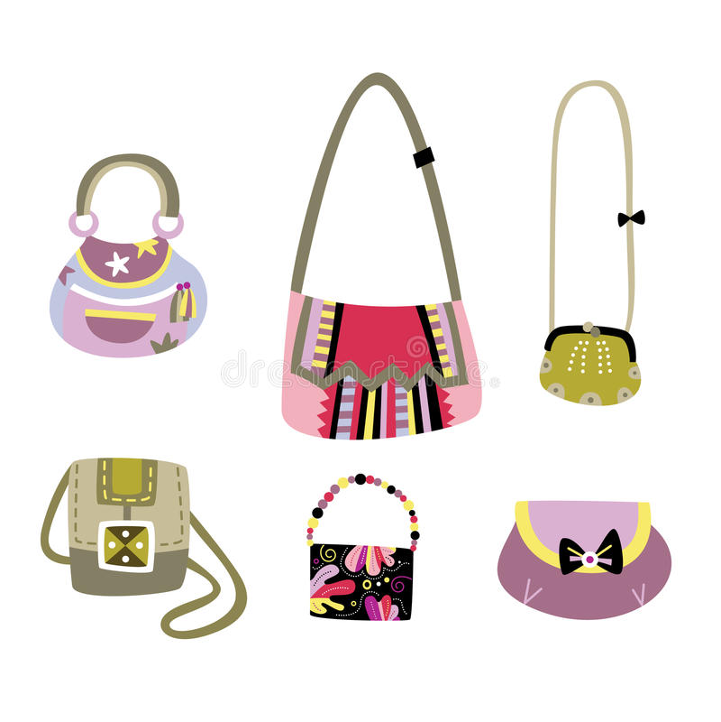 разнообразные установленные сумки иллюстрация штока