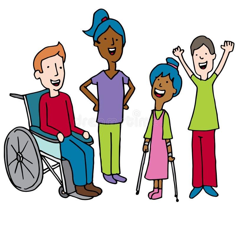 Разнообразный шарж ребенок-инвалидов иллюстрация вектора