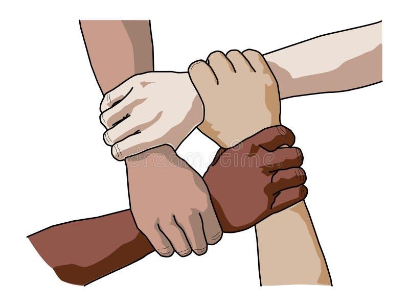 4 разнообразных люд держа каждые другие запястья r иллюстрация штока