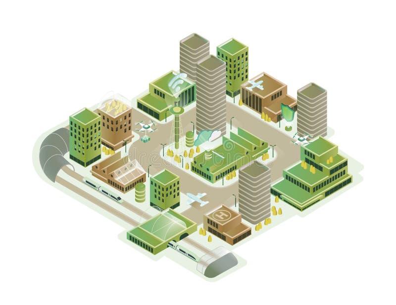 Разноцветная изометрическая иллюстрация вектора смарт-городов Современная инновационная инфраструктура cityscape с технологией иллюстрация вектора