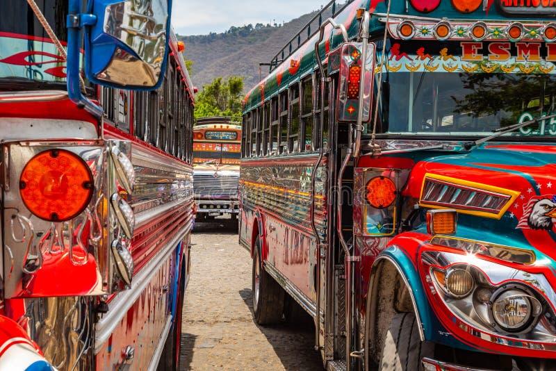 Разноцветные старые школьные автобусы используются в качестве общественного транспорта в Гватемале стоковые изображения