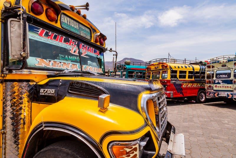 Разноцветные старые школьные автобусы используются в качестве общественного транспорта в Гватемале стоковая фотография rf
