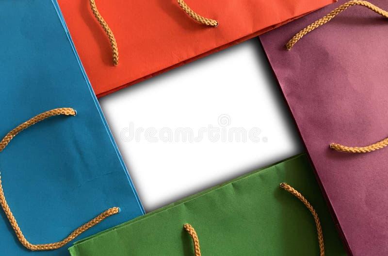 Разноцветный фон шоппинга с пространством стоковая фотография