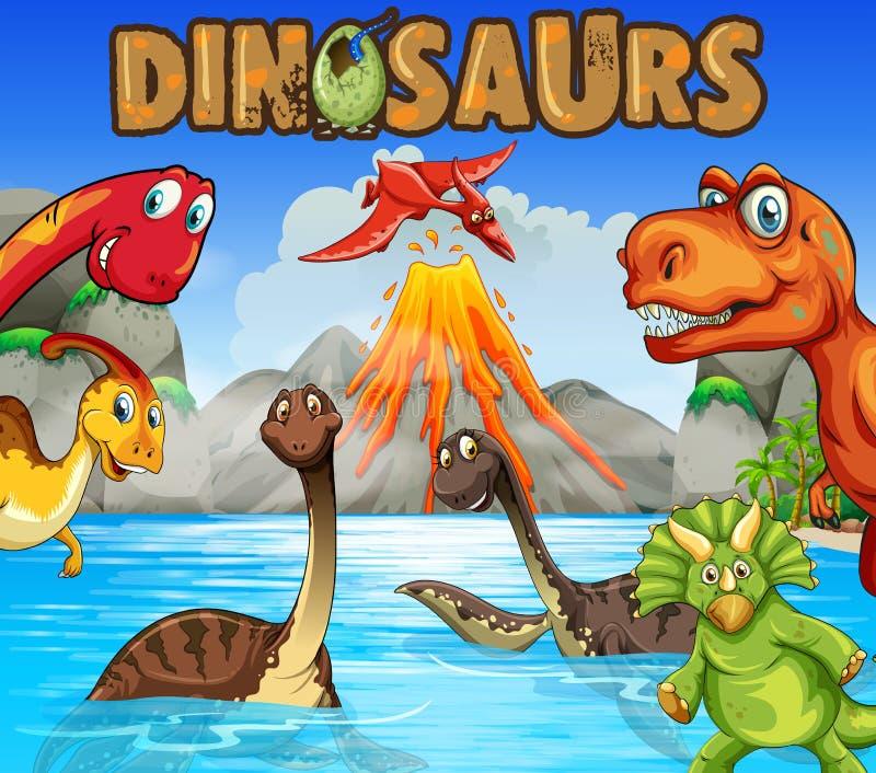 Разные виды динозавров в океане иллюстрация штока