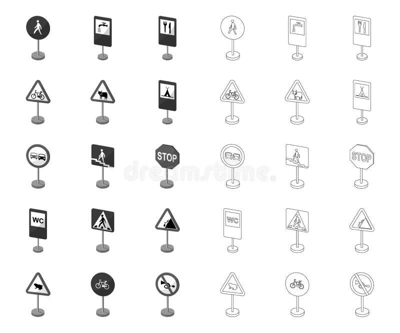 Разные виды дорожных знаков mono, значков плана в установленном собрании для дизайна Вектор знаков предупреждения и запрета иллюстрация вектора