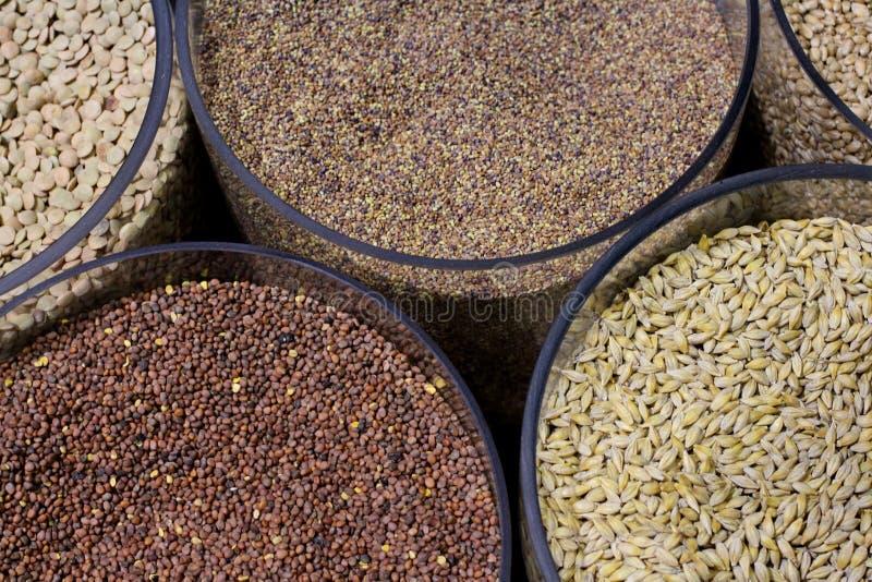 Разные виды хлопьев зерна в прозрачных контейнерах стоковое изображение