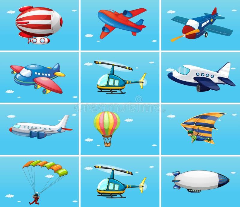 Разные виды воздушных судн иллюстрация штока