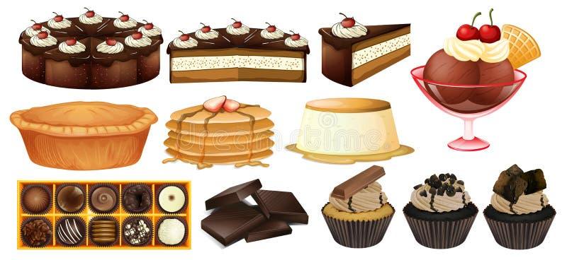 Разные виды десертов иллюстрация вектора