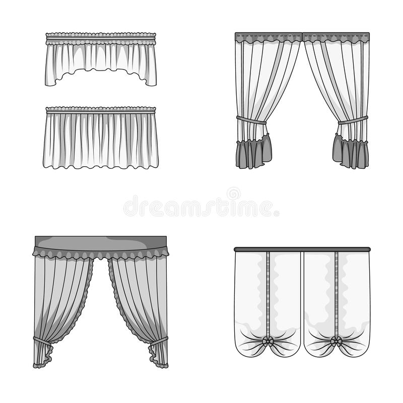 Разные виды занавесов окна Занавесы установили значки собрания в monochrome иллюстрации запаса символа вектора стиля иллюстрация вектора