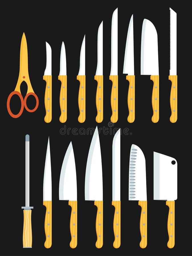 Разные виды кухонных ножей Установленные векторы иллюстрация вектора