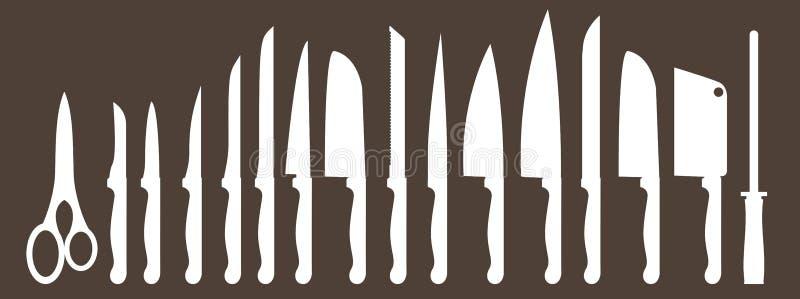 Разные виды кухонных ножей Установленные векторы бесплатная иллюстрация