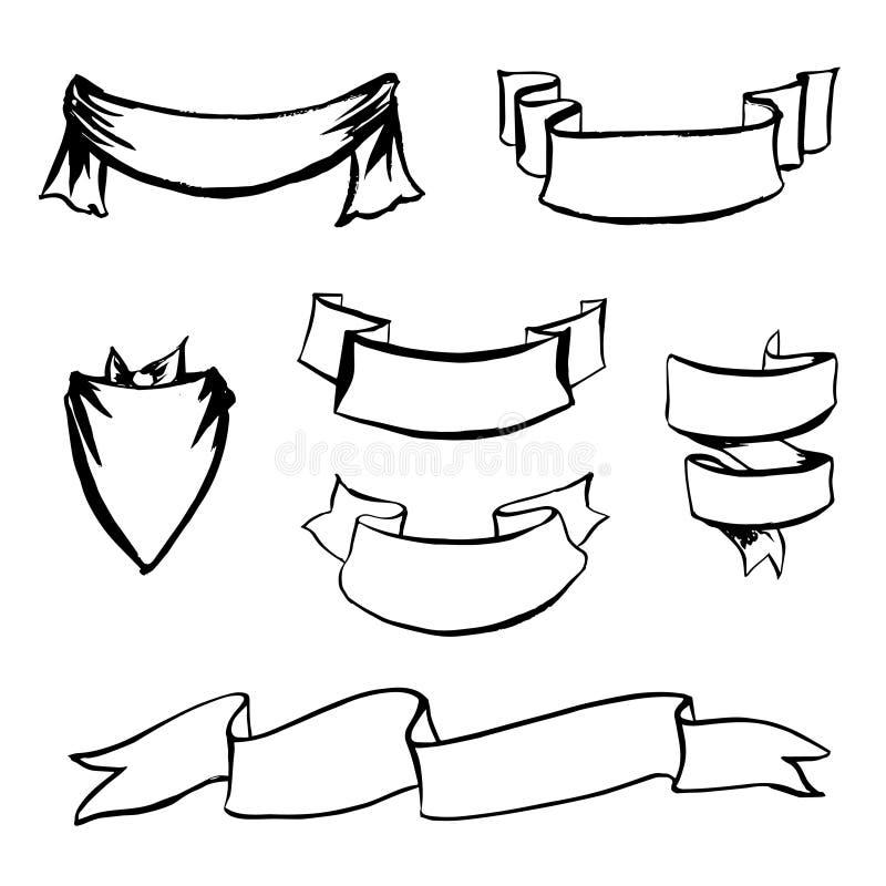 Разные виды нарисованные рукой ленты иллюстрация вектора