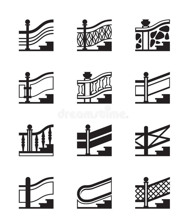 Разные виды перил иллюстрация штока