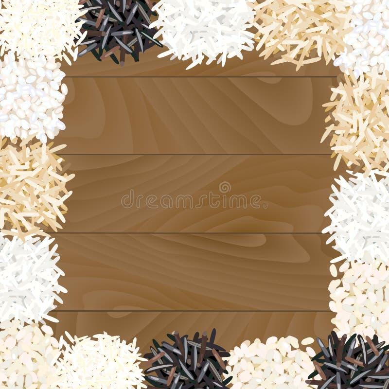 Разные виды риса на деревянной предпосылке иллюстрация штока