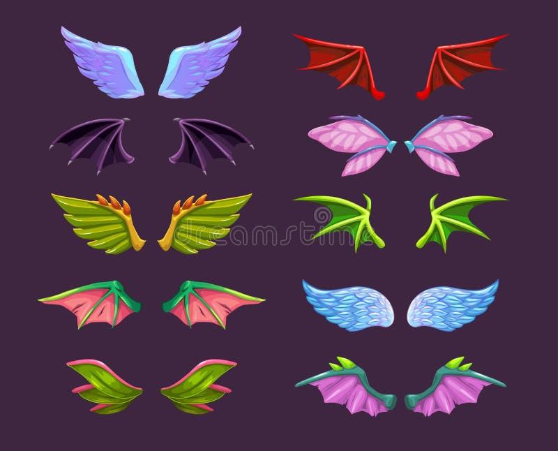 Разные мультипликаторные животные крылья установлены Ангел, дьявол, дракон, летучая мышь, иконы крыла бабочки бесплатная иллюстрация