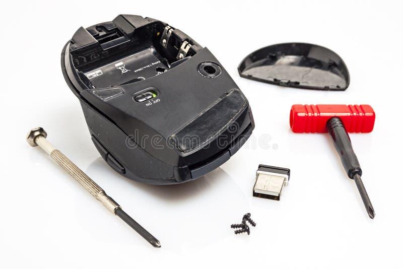 Разобрал мышь компьютера стоковое фото rf