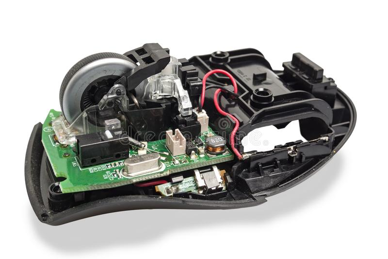 Разобрал мышь компьютера стоковое изображение rf