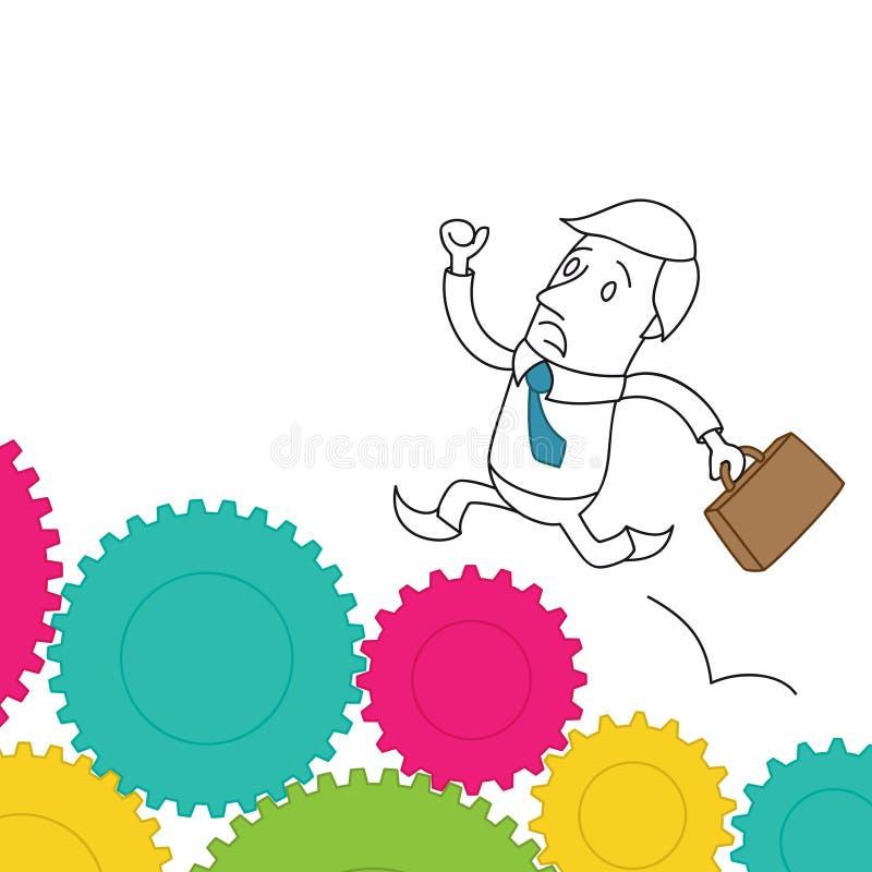 Разочарованный бизнесмен бежать на cogs иллюстрация вектора