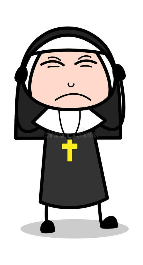 Разочарованный - дама Вектор Иллюстрация монашки мультфильма бесплатная иллюстрация