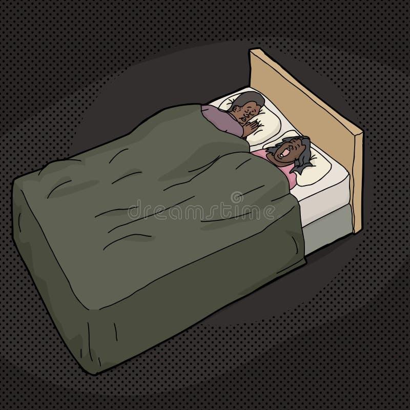 Разочарованный человек в кровати с храпя женой иллюстрация штока