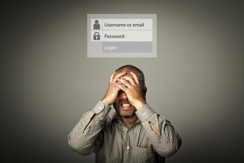 разочаровано Забыл концепцию пароля стоковое фото rf