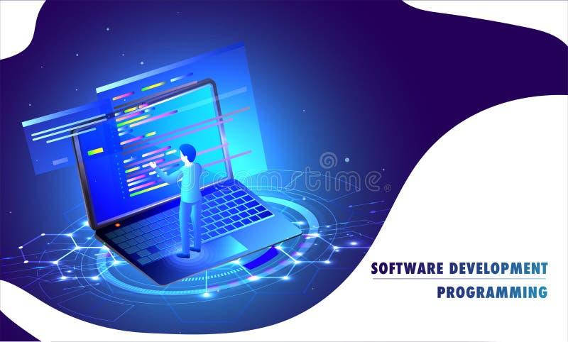 Разработка программного обеспечения программируя отзывчивую страницу посадки, iso 3d иллюстрация вектора