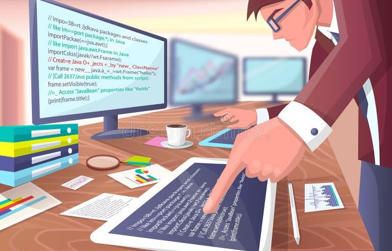Разработчик с экранами на иллюстрации вектора бесплатная иллюстрация
