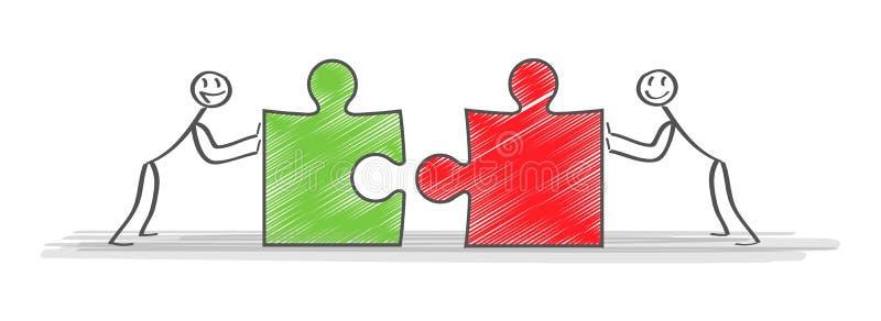 разрешения Команда и партнер дела работая совместно предпосылка Иллюстрация вектора дела дела концепции иллюстрация штока