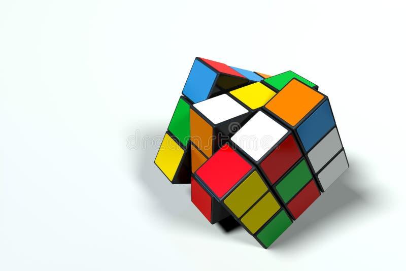 Разрешения кубов ` s Rubik, зашарканного и вращанный, ультра высокого бесплатная иллюстрация