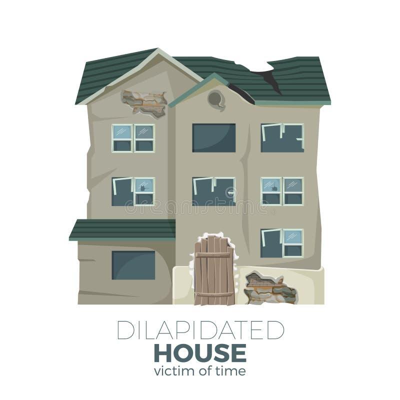 Разрушанный дом как жертва плаката времени выдвиженческого бесплатная иллюстрация