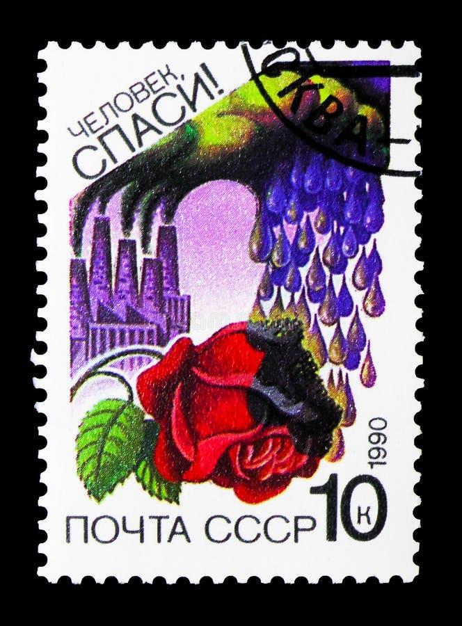 Разрушать кислотного дождя поднял, serie охраны окружающей среды, около 1990 стоковые изображения rf