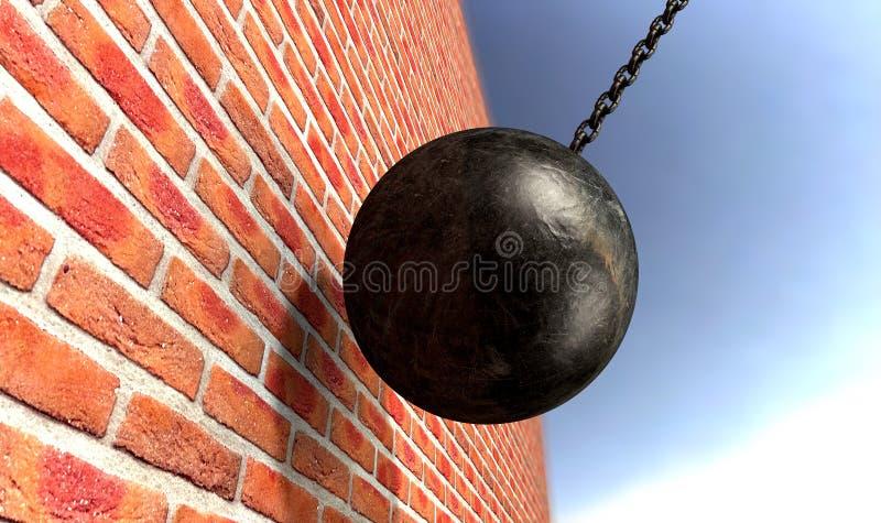 Разрушать шарик ударяя стену стоковое фото