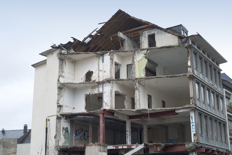 разрушение здания стоковая фотография rf