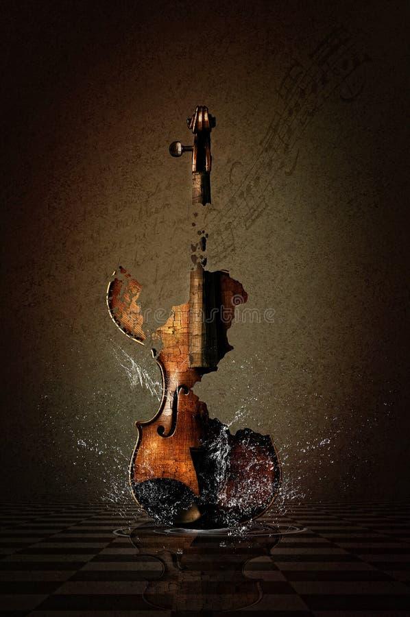 Разрушенная скрипка в воде стоковые изображения