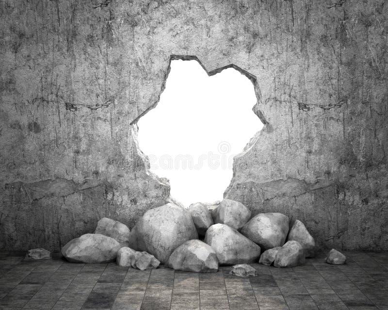 Разрушенная стена бетонной конструкции Концепция избежания к свободе 3d, иллюстрация иллюстрация штока