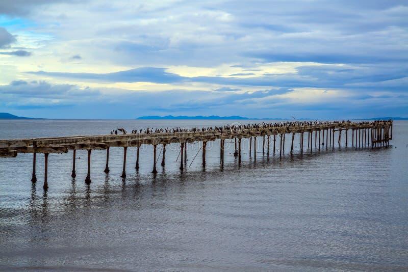 Разрушенное зачаливание моря, заржаветое и стоковое фото