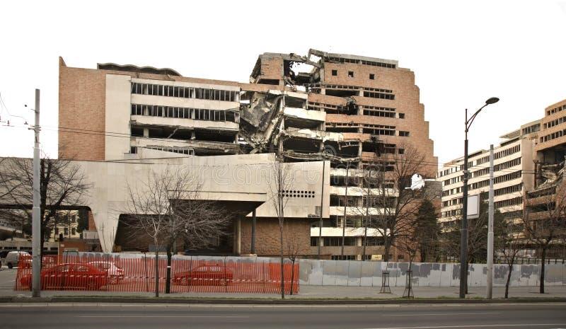 Разрушенное здание на улице Nemanjina в Белграде Сербия стоковые фото