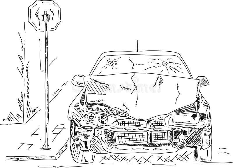 разрушенный автомобиль иллюстрация вектора