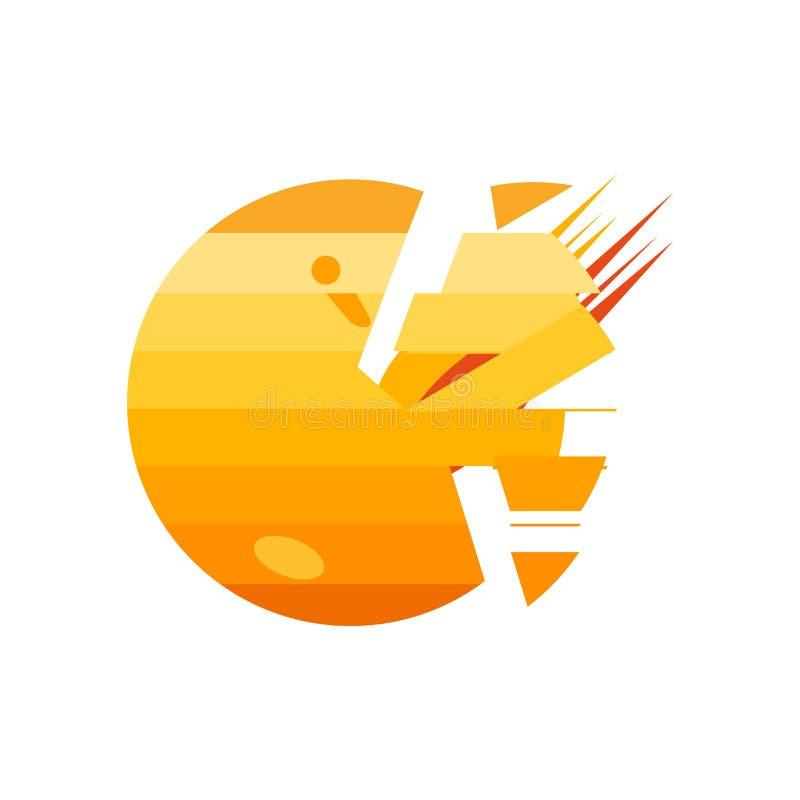 Разрушенный знак и символ вектора значка планеты изолированные на белой предпосылке, разрушенной концепции логотипа планеты иллюстрация штока