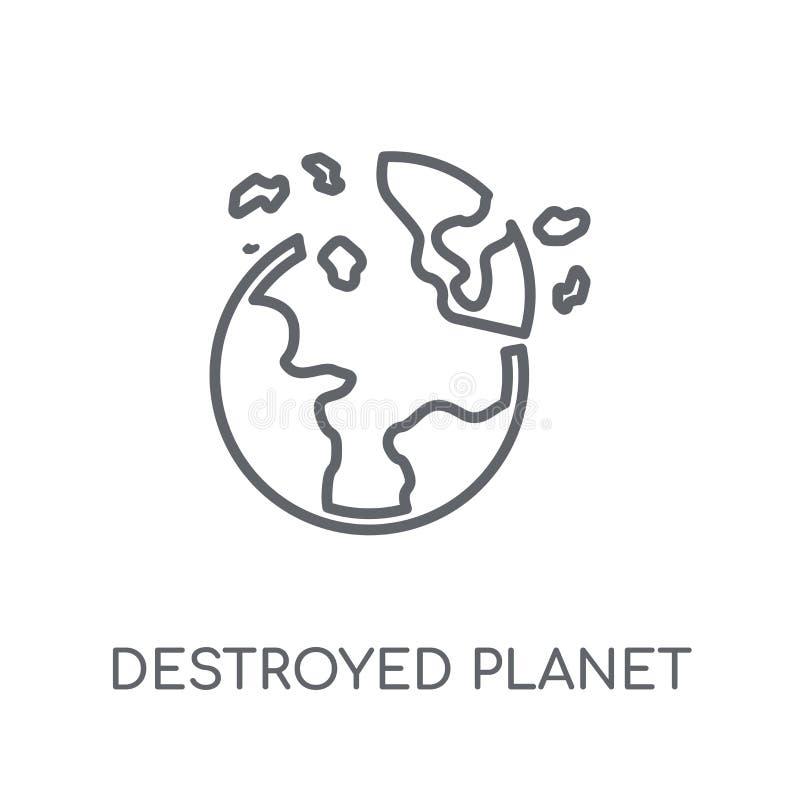 Разрушенный значок планеты линейный Современным разрушенное планом lo планеты иллюстрация вектора