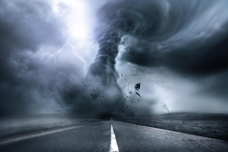 Разрушительный мощный торнадо иллюстрация штока